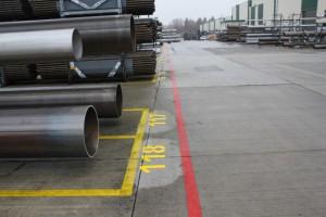 Werksmarkierungen und Hallenmarkierungen bei einem der größten Edelstahlrohrhersteller: Firma Butting in Knesebeck, Landkreis Wittingen