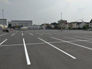 Parkplatzmarkierung für ein Einkaufszentrum in Bendorf / Rheinland-Pfalz
