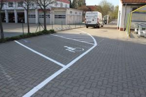 Parkplatzmarkierung Firma Vögele in der Schweiz