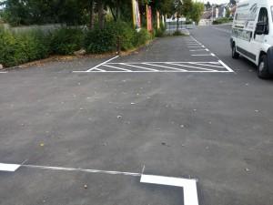 Parkplatzmarkierung mit thermoplastischem Material für Herkules Markt in Lauterbach